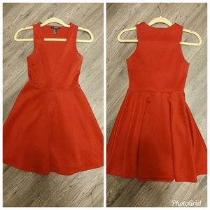 Sexy red dress fit-and-flare deep V neck